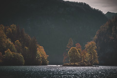 Foggy morning... (agialopoulos) Tags: mountain landscape landschaft lake germany bavaria königssee obersee berge peaks peak alps natur nature nationalpark autumn clouds sky water forest boat hut
