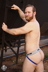 Matthew (Levi Smith Photography) Tags: butt jock strap jockstrap behind back cute handsome shirtless arms triceps beard train oil car muscles buff hot guy underwear men mens fashion portrait man mans