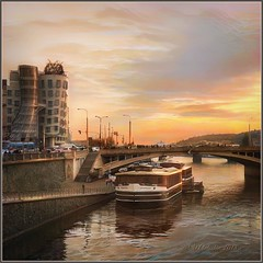 """from the series """"Walking in Prague. Everyone dances, even at home! (odinvadim) Tags: iphoneart landscape edit iphoneonly iphonex iphoneography mytravelgram autumn painterlymobileart iphone snapseed evening artist instapickskyart sunset oldhouse travel textured textures river editmaster prague"""