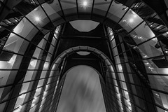 Batcave... (Aleem Yousaf) Tags: bat cave architecture more london monochrome black white long exposure 1835mm wide angle morning sky clouds drag glass steel modern building gotham city cityscape windows reflections bw britain pwc price waterhouse coopers professional services big4 riverside