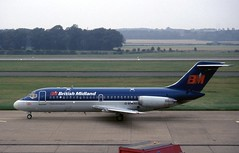 G-BMAI. British Midland Douglas DC9-14 (Ayronautica) Tags: ayronautica aviation scanned airliner bma britishmidlandairways edinburgh egph edi gbmai 1992 douglasdc914