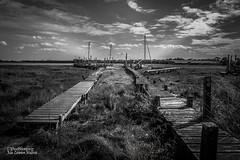 The Wyre Estuary (Peeblespair) Tags: skipool riverwyre lancashire blackandwhite bw estuary boatslips boardwalk peeblespair raelawsonstudios