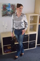 Silver and Blue (Rikky_Satin) Tags: silk satin blouse denim jeans pumps highheels crossdresser transgender tgirl tgurl gurl casual