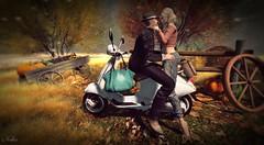 # 233 riding a Vespa - small rest ~ (ЙёКσ) Tags: sl slblogger couple secondlife love amitie shinyshabby notsobad deadwool catwa letre