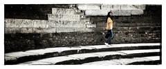 Yellow girl (Jean-Louis DUMAS) Tags: pompéi bw nb woman girl femme yellow jaune ruine