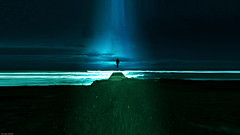 Last day on earth (Younes Ahlafi) Tags: surreal surrealism eerie fantasia levitation silhouette sea waves blue lucid mysterious wonder fly free woman dream mystery dark