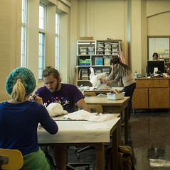 wcowley_Porter_student life_5 (wctres) Tags: pittsburg state university gorillas kansas art department sculpture student life 3d artwork classroom college plaster gauze