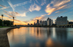 Last shot of the morning (tquist24) Tags: alleghenyriver hdr nikon nikond5300 outdoor pennsylvania pittsburgh architecture city cityscape clouds downtown geotagged longexposure morning reflection reflections river sky skyscraper water unitedstates