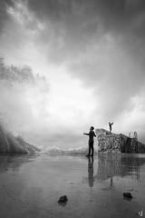 Feeling free (tzevang.com) Tags: waves bw bythesea bwseascape seascape dramaticsky greece
