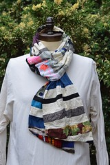 smiley face scarf (Danny W. Mansmith) Tags: handmadescarf patchwork wearableart wwwdannymansmithetsycom fiberart details colorful fabric drawingwiththesewingmachine face dannymansmith burienwashington oneofakind