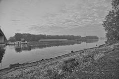 An Autumn Saturday Morning on the River (kendoman26) Tags: skylumsoftware luminar2018 monochrome blackandwhite nikon nikond7100 tokinaatx1228prodx tokina tokina1228 illinoisriver tugboat barge happymonochromemonday hmm