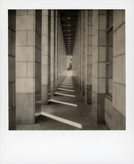 Denver Central Library (tobysx70) Tags: the impossible project tip bw bland white sx70 expired instant film sx70sonar sonar roidweek roid week polaroidweek fall autumn october 2018 denver central liibrary west 14th avenue parkway colorado co public colonnade architecture vanishing point shadows light polaradoone polarado 072318 day3 toby hancock photography