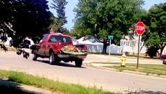 Red pickup hauling wood -HTT (Maenette1) Tags: red pickuptruck wood neighborhood menominee uppermichigan happytruckthursday flicker365 allthingsmichigan absolutemichigan projectmichigan