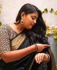 Adjustments (Bhuvan N) Tags: portrait portraits portraiture fashion indianfashion saree naturallight nikon tamron blacksaree beautiful girl woman people india candid longhair indianculture