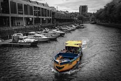 Ferry, Bristol, UK (KSAG Photography) Tags: ferry boat harbour port bristol uk england europe unitedkingdom britain city urban transport nikon november 2018 autumn blackandwhite coloursplash