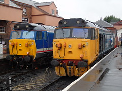 class 50026/049 stand at kidderminster during the class 50 golden jubilee event at the SVR. (rharwood75) Tags: kidderminster rain class50 hoover log large logo network south east platform arrow double