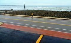 Arrêt sur image (Robert Saucier) Tags: rue street pavement mer océan ocean sea orange oblique poteau skateboard jaune yellow vagues waves atlantique atlantic yorkbeach maine roches rocks fil wire img4113 vudenhaut