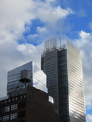 2018 October Cloud Strewn Sky Reflection NYC 2575 (Brechtbug) Tags: 2018 october cloud strewn sky nyc virtual clock tower from hells kitchen clinton near times square broadway new york city midtown manhattan stormy weather building no hanging cumulonimbus blue cumulus nimbus fall hell s nemo southern view ny1 10132018