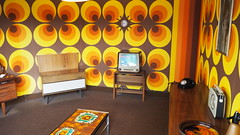 1969 Living Room. (ManOfYorkshire) Tags: 1969 living room parlour colours radio telephone tv radiogram bright colourful recreation nationalspacecentre leicester england gb uk moonlanding tiledtable sideboard sodasyphon