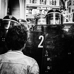 The machine... (JM@MC) Tags: marseille protest police square streetphotography blackwhite