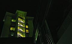 Neon (Maquarius) Tags: hochhaus treppenhaus fenster grün nacht würzburg mainfranken unterfranken franken