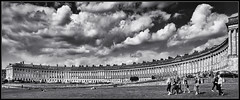 Royal Crescent Crowds and Clouds (J-o-h-n---E) Tags: bath somerset monochrome bw park royalcrescent buildings crescent people clouds sky