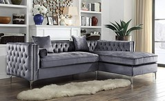 Iconic Home Da Vinci Tufted Silver Trim Grey Velvet Right Facing Sectional Sofa Silver Tone Metal Y-Legs (katalaynet) Tags: follow happy me fun photooftheday beautiful love friends