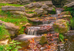 Waterfall in autumn color - Brussels (jamessensor) Tags: waterfall autumn automne color couleur parc