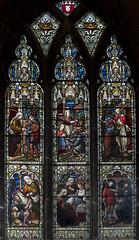 Melton Mowbray, St Mary's church, window (Jules & Jenny) Tags: meltonmowbray stmaryschurch stainedglasswindow actsofmercy