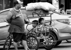 Waiting (Beegee49) Tags: street man father children tricycle waiting bacolod city philippines