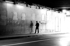 Following his shade (pascalcolin1) Tags: paris12 bercy homme ma tunnel chanel lumière light ombre shadow mur wall photoderue streetview urbanarte noiretblanc blackandwhite monochrome photopascalcolin 50mm canon50mm canon