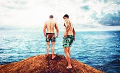 Take Me Into The Ocean (CalebBryant) Tags: calebbryant sl secondlife exalted equal10 ocean board shorts swim trunks jump dive cliff fearless men mesh fun beach