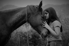 Portrait of a girl and her horse (alestaleiro) Tags: horse caballo cavalo cavallo chevall portrait soft girl mono monochrome monocromo biaconero bw bn pb retrato alestaleiro