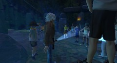Scouts in Eriador (cadeSL) Tags: scout scouts boy group trek sl secondlife second life virtual world avatar cubs uniform tiger kids teens adventure visit trip druid stone henge circle magic ghost halloween zombies torch fire mist eerie maze