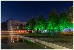 Katowice Main Market by blue hour (4th Life Photography) Tags: katowice city market center garden tramway tram water pond fountain lighttrail publictransportation poland luminated streetlight trees lawn bench nopeople night morning bluehour bluesky tranquilscene waterreflection urban architecture