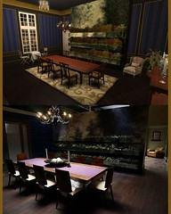 Hannibal Dining Room (cuuka) Tags: second life secondlife sl cuuka kushino hannibal lecter red sun dining room decoratioin theme plants picture inspired art show serie tv table