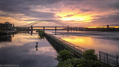 Silver Jubilee Sunset-1 (andyyoung37) Tags: manchestershipcanal railwaybridge runcon silverjubileebridge waterreflections greatsky sunsetsky