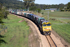 Snaking (PJ Reading) Tags: train rail railway track transport travel transportation qr qld queensland australia queenslandrail qldrail narrow narrowgauge suburban city brisbane citytrain translink cargo goods freight locomotive intermodal container superfreighter diesel pn pacificnational pacnat pnq pnqld pacificnationalqueensland pnclass yandina sunshine coast