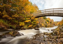 Bridge Over Water (Karen_Chappell) Tags: bridge water river nfld newfoundland renniesriver grandconcourse stjohns canada atlanticcanada avalonpeninsula eastcoast october autumn fall longexposure nd110 trees orange rocks flowing flow wideangle canonefs1022mm