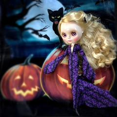 """Every October when the full moon rises, Adelia hears her twin sister's plaintiff cry  and ventures out onto the moor calling, """"Josephine..JOSEPHINE!!"""" But is it the howl of the wind or the screech of cat? Or...?? Gown: Painterslife. (Painters Life) Tags: purple haunted cat jackolantern halloween blythe takara tashamermaid"""