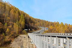 Autumn road in Gornaya Shoria. (man_from_siberia) Tags: gornayashoria siberia road bridge autumn fall october trees forest canon eos 200d dslr canoneos200d canon200d canonrebelsl2 canonef40mmf28stm pancakelens russia россия сибирь горнаяшория шория