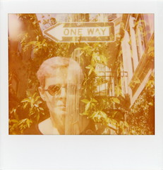 One Way Anne (tobysx70) Tags: polaroid spectra system 1200 image softtone edge cut instant film expired 1009 paul giambarba edition double exposure the impossible project tip one way anne sacramento street san francisco california ca portrait woman sign pink hair sunglasses utility pole polawalk polavacation 042918 toby hancock photography