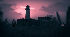 Lonely Lighthouse (larisalyn (Rachel)) Tags: lighthouse secondlife trees sky clouds blonde blackdress pussywilliows landscape pinksky water ocean sea splash jamestaylor