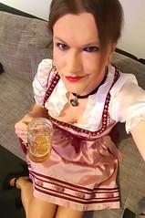 Prost! (Rikky_Satin) Tags: silk satin dirndl pantyhose highheels pumps beer crossdresser transvestite transgender tgirl tgurl gurl oktoberfest