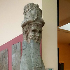Statue head of Lamassu, from the gate of the old palace, Neo-Assyrian Period, 8th cen. BC., Assur, Marble, İstanbul Archaeological Museums. (ancient pix) Tags: ancient history ancienthistory photo photography culture art arts archaeology archeology