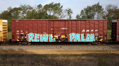 Rewl/Palm (quiet-silence) Tags: graffiti graff freight fr8 train railroad railcar art boxcar rewl palmr palm lsd bnsf bnsf761489