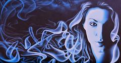 Woman in blue (Ciceruacchio) Tags: shakewellfestival2018 streetart artderue artedistrada artist artiste graffeur snake2 blue blu bleu woman donna femme esthétique aesthetic estetico aérosol pessac france francia frankreich nikond750