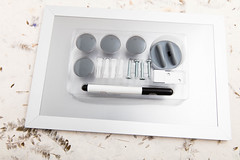 Magnetic board and accessories (annick vanderschelden) Tags: wood metal magnetic marker screw plug notes gray mounting four frame lighteffect belgium
