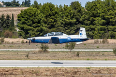 T-6 Texan II during flying demonstration (Sidewinder Plane Spotting) Tags: green athensflyingweek airshow demonstration tanagra airforce base airbase greece hellenic hellenicairforce t6 t6texanii texanii trainer aircraft airplane canoneos700d ef70200mmf4lusm low pass approach lowpass lowapproach