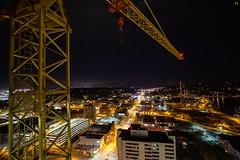 Blue Collar Behemoth. (Nomadic Complacency) Tags: night nightphotography crane construction lights city sony sonyalpha urbex